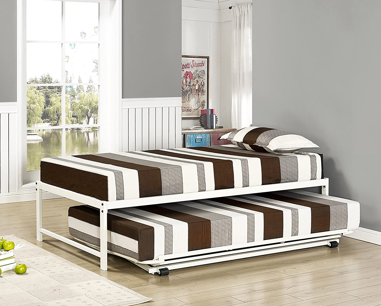 Metal Platform Bed With Pop Up Trundle