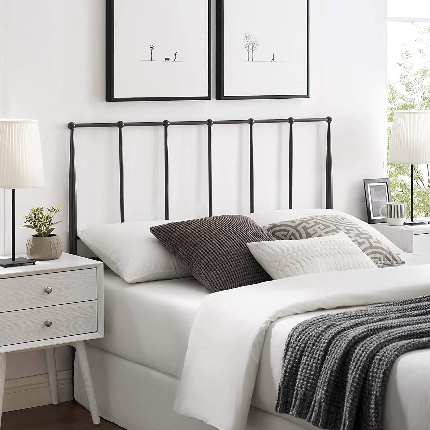 Modway Kiana Stainless Steel Metal King Headboard