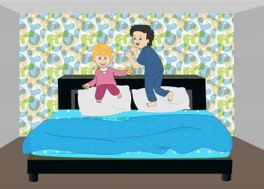 kids jump over the mattress